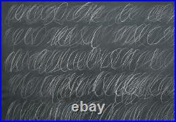 Coa Cy Twombly / Large Painting On Canvas / Vintage Friend Of Haring Warhol