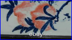 EARLY 20c CHINESE LARGE BLUE&WHITE HAND PAINTED PORCELAIN PLAQUE PEACHES, SIGNED