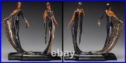 ERTE Signed BRONZE Sculpture DUETTO Original ART DECO antique Female Dance LARGE