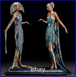 ERTE Signed BRONZE Sculpture TWO VAMPS Original ART DECO antique Female LARGE