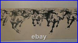 Early 20c Chinese Large Watercolor Scroll Herd Of Horses, Artist Sign&seal