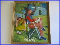 Ede Else Painting Large Oil Portrait Antique Vintage American Impressionist Rare