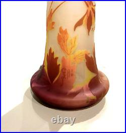 Emile Galle RARE Large 4 Color Cameo Glass Flower Vase Signed French Antique Art
