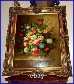 Fantastic Large Original Framed Oil Painting, Bouquet Of Flowers In Vase