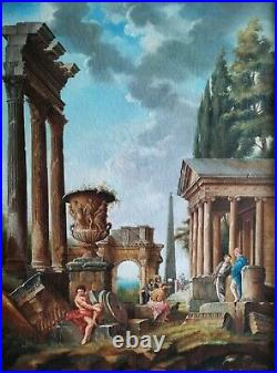Figures & Classical Roman Ruins, Italian School 19thC Large Antique Oil Painting