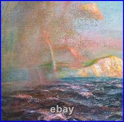 Fine Large 19th Century Coastal Seascape Shower Off The Needles Julius OLSSON