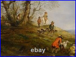 Fine Large 19th English Dutch Hawking Party Hunting Landscape Henry Andrews