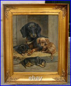 Fine Large Antique salon oil. Dachshund and puppies. Ca. 1890. Signed
