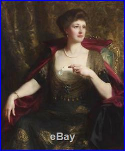 Frank Dicksee Huge Large Fine Antique Oil Painting Portrait of Noble Lady Signed