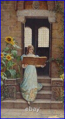 Frederick Leighton British Portrait of a Girl & Book, Large Antique Oil Painting