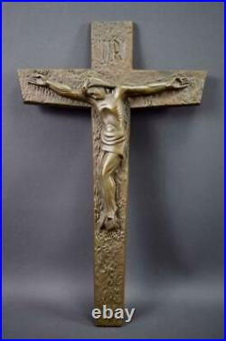 French Antique Large Bronze Jesus Christ Corpus Wall Crucifix Signed A Dubois