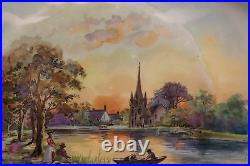 French Antique Limoges Porcelain Large Plate J POUYAT 1890-1932 Signed Lecam 1