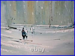 Gaston Pierre Paris Oil Painting on Canvas Abstract Street Scene Large MCM