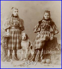 HOUND DOG guarding siblings twins in same dress antique large CAB Cabinet Card