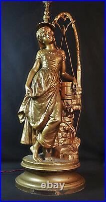 Henri Plé Large signed gilt bronzed spelter sculpture Jeune Fille Au Puits