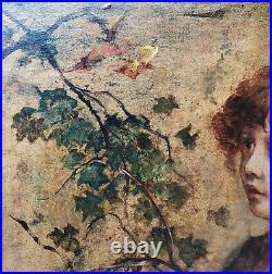 Italian Pre-Raphaelite Portrait of Girls 19thC Signed Large Antique Oil Painting