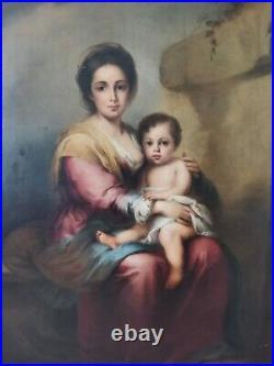 Italian Renaissance Old Master Madonna & Jesus Saint Large Antique Oil Painting