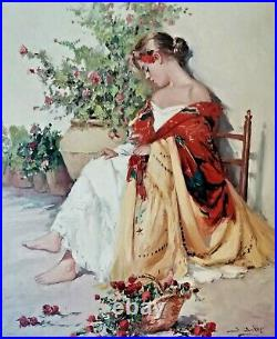 J. Soper, American, USA Portrait of a Girl Flower Lady Large Antique Oil Painting