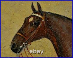 James Clark (1855-1943) Large Portrait Horse In Stable Antique Oil Painting