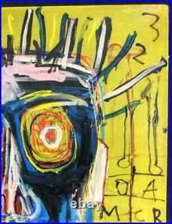 Jean Michel Basquiat 1982 Large autographed oil painting withsignature 002