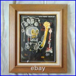 Jean Michel Basquiat 1986 Large autographed oil painting withsignature