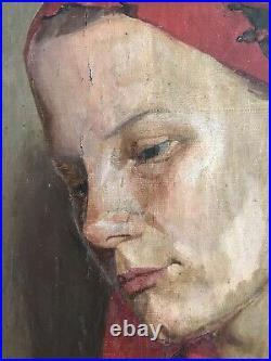 Jerzy Karszniewicz Lrg Polish Female Portrait Oil On Canvas Signed Antique Woman