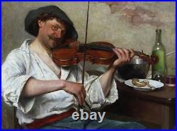 Johan Oscar Cantzler Large Fine Antique Oil Painting Violinist Musician Signed