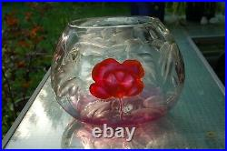 Karlsbad Moser Glass Marquetry Vase Pink Cranberry Rare Large Antique Glas