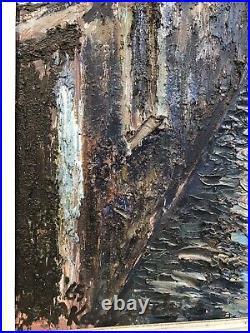 Ken Leech Mid Century Lrg Impasto Oil On Board Venice Impressionist Antique