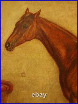LARGE 19th CENTURY CHESTNUT RACE HORSE IN STABLE PORTRAIT Antique Oil Painting