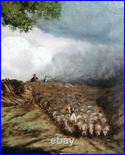 LARGE 19th CENTURY FRENCH BARBIZON OIL SHEEP DROVERS LANDSCAPE ANTIQUE PAINTING