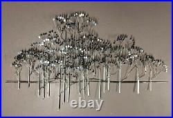 LARGE 57 C. Curtis Jere Signed Silver Elm Trees Wall Metal Sculpture MCM 1973