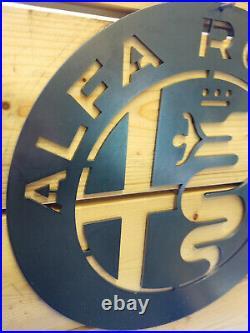 LARGE ALFA ROMEO Logo Metal Sign Hand Finished Wall ART VINTAGE GARAGE CAR