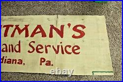 LARGE ANTIQUE EARLY 1900's CANVAS BANNER SIGN TROUTMAN'S STORE INDIANA, PA