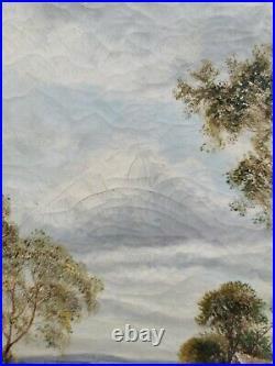 LARGE Antique British landscape oil painting framed and signed. Gold frame