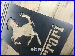 LARGE FERRARI Logo Metal Sign Hand Finished Wall ART VINTAGE GARAGE SPORTS CAR