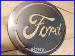 LARGE FORD Oval Logo Metal Sign Hand Finished Man Cave FLAT Wall Art Motors