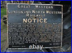 LARGE GWR & LNWR JOINT LINES CAST RAILWAY NOTICE SIGN. Trespass. FEBRUARY 1885