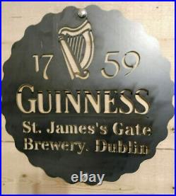 LARGE Guinness Irish Metal Sign Hand Finished Man Cave Wall Art Bar beer