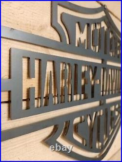 LARGE HARLEY DAVIDSON MOTORCYCLE Logo Metal Sign Hand Finished Wall ART BIKE
