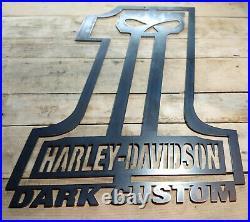 LARGE Harley Davidson DARK CUSTOM Skull Metal Sign Hand Finished Motor Cycle