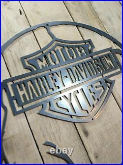 LARGE Harley Davidson Skull Metal Wall Sign Hand Finished motorbike cycle