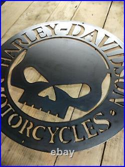 LARGE Harley Davidson Willie G Metal Sign Hand Finished Motor Cycle Skull
