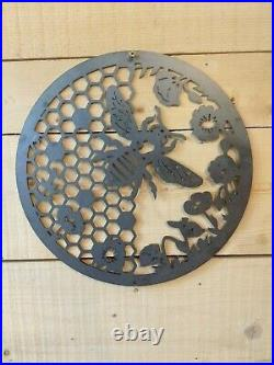 LARGE Honey Comb Bee and Flowers metal Sign Hand Finished Garden Wall Art