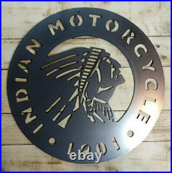 LARGE INDIAN MOTORCYCLE Metal Sign Hand Finished Wall art GARAGE BIKE CUSTOM