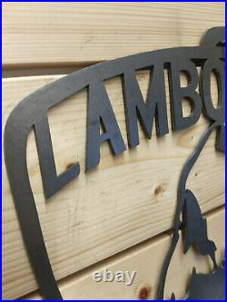 LARGE Lamborghini Metal Wall Sign Handmade vintage Man Cave Car Garage Vintage