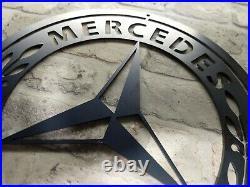 LARGE Mercedes Benz Car Logo Metal Sign Hand Finished Man Cave Wall Art car
