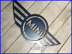 LARGE Mini Cooper Car Logo Metal Sign Hand Finished Man Cave Wall Art car