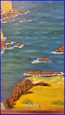 LARGE SIGNED VTG 1960s PAINTING OIL ON CANVAS BOARD COASTAL OCEAN SCENE FRAMED
