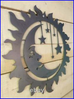 LARGE Sun Moon Stars Metal Sign Wall Art Raw Steel Hand Finished garden summer